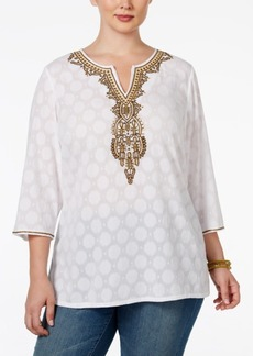 Charter Club Plus Size Beaded Tunic, Only at Macy's