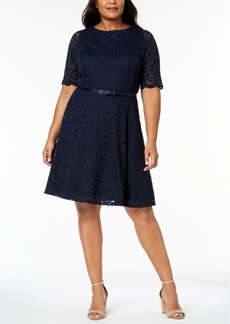 Charter Club Plus Size Belted Lace A-Line Dress, Created for Macy's