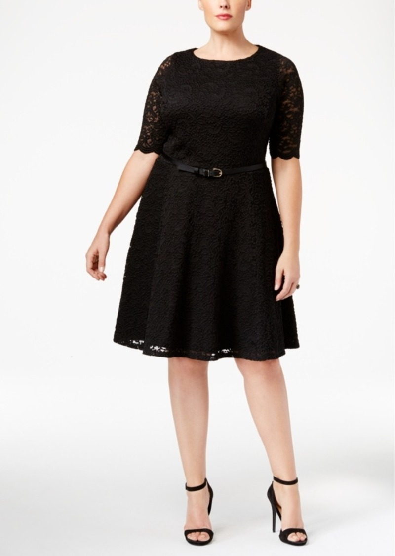 Plus Size Belted Lace Fit & Flare Dress, Only at Macy\'s