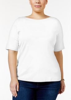 Charter Club Plus Size Boat-Neck T-Shirt, Only at Macy's