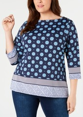 Charter Club Plus Size Border-Print 3/4-Sleeve Top, Created for Macy's