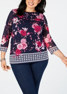 Charter Club Plus Size Border-Print Top, Created for Macy's