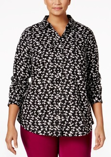 Charter Club Plus Size Bow-Print Shirt, Only at Macy's