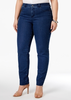 Charter Club Plus Size Bristol Dot-Print Tummy-Control Ankle Jeans, Only at Macy's