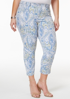 Charter Club Plus Size Bristol Printed Tummy-Control Capri Jeans, Only at Macy's