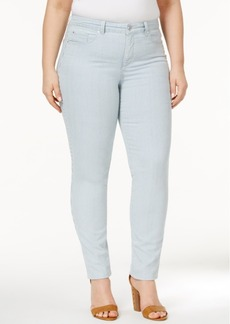 Charter Club Plus Size Bristol Striped Seaside Wash Ankle Jeans, Only at Macy's