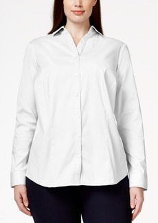 Charter Club Plus Size Button-Down Blouse, Only at Macy's