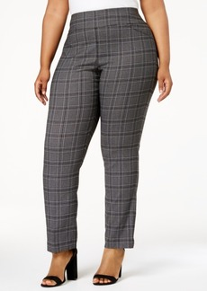 Charter Club Plus Size Cambridge Plaid Tummy-Control Pants, Created for Macy's