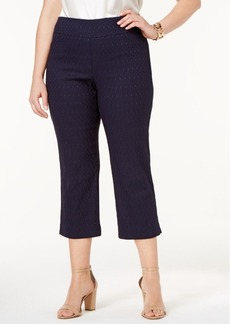 Charter Club Plus Size Cambridge Tummy-Control Jacquard Capri Pants, Only at Macy's