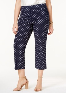 Charter Club Plus Size Cambridge Tummy-Control Polka-Dot Capri Pants, Created for Macy's