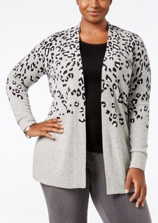 Charter Club Plus Size Cashmere Animal-Print Cardigan