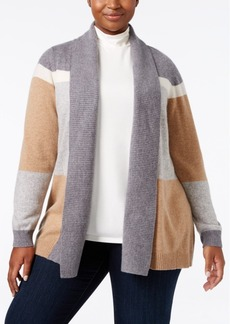 Charter Club Plus Size Cashmere Colorblocked Cardigan
