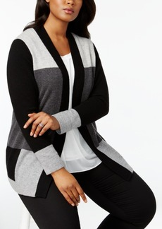 Charter Club Plus Size Cashmere Colorblocked Duster Cardigan, Created for Macy's