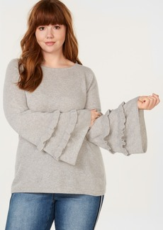 Charter Club Plus Size Cashmere Double-Ruffle Sweater, Created for Macy's