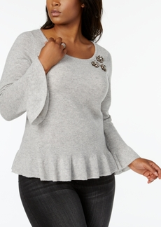 Charter Club Plus Size Cashmere Embellished Peplum Sweater, Created for Macy's