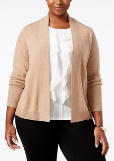 Charter Club Plus Size Cashmere Open-Front Cardigan, Only at Macy's