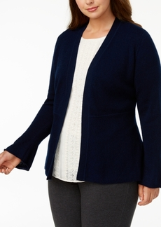 Charter Club Plus Size Cashmere Peplum Cardigan, Created for Macy's