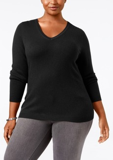 Charter Club Plus Size Cashmere V-Neck Sweater, Only at Macy's