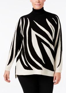 Charter Club Plus Size Cashmere Zebra-Print Turtleneck