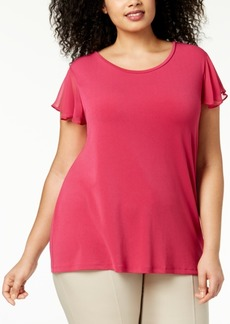 Charter Club Plus Size Chiffon Flutter-Sleeve Top, Created for Macy's