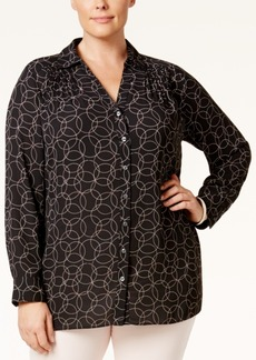 Charter Club Plus Size Circle-Print Blouse, Only at Macy's