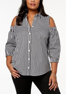 Charter Club Plus Size Cold-Shoulder Gingham Shirt, Created for Macy's