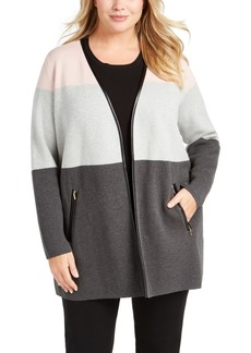 Charter Club Plus Size Milano Color Blocked Cardigan, Created For Macy's