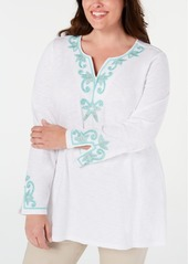 Charter Club Plus Size Cotton Beaded Embroidered Tunic, Created for Macy's