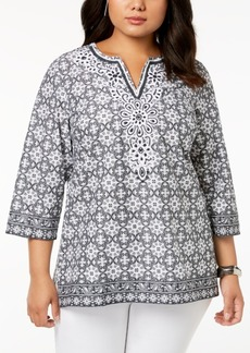 Charter Club Plus Size Cotton Beaded Tunic, Created for Macy's