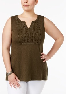 Charter Club Plus Size Cotton Crochet-Trim Tunic, Only at Macy's