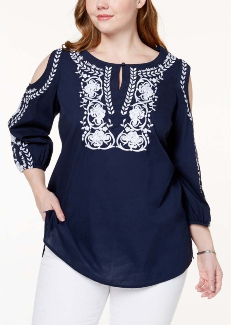 fbda09ed54673a Charter Club Charter Club Plus Size Cotton Embroidered Cold-Shoulder ...