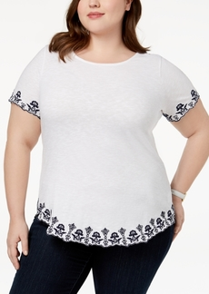Charter Club Plus Size Cotton Embroidered T-Shirt, Created for Macys