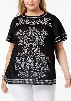 Charter Club Plus Size Cotton Embroidered Top, Created for Macy's