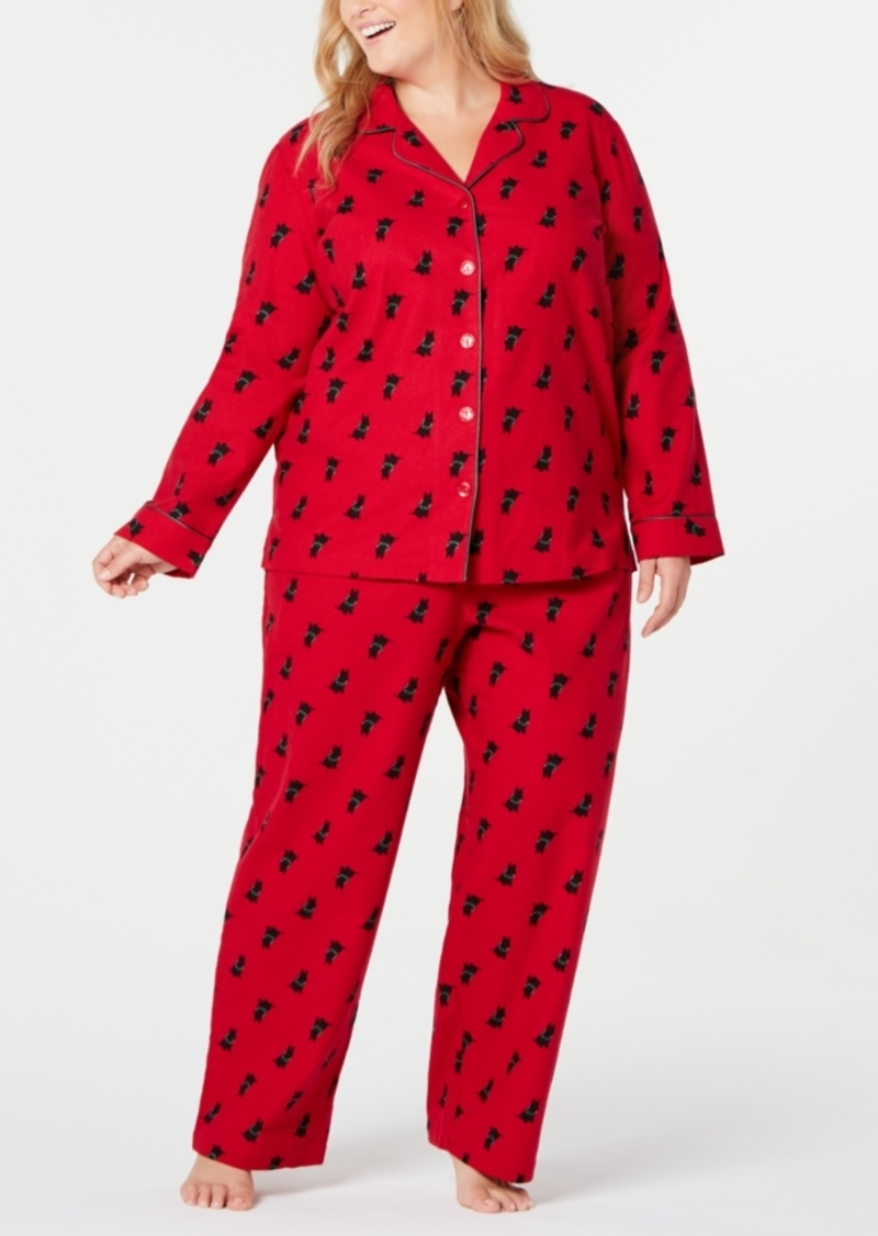 Charter Club Plus Size Cotton Flannel Pajamas Set, Created for Macy's
