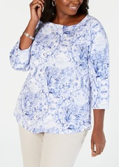 Charter Club Plus Size Cotton Floral-Print Boat-Neck Top, Created for Macy's