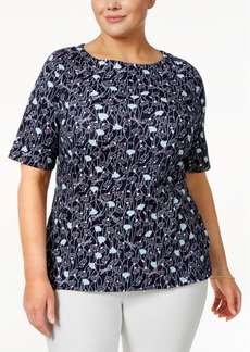 Charter Club Plus Size Cotton Floral-Print Top, Only at Macy's
