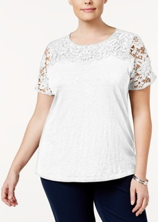 Charter Club Plus Size Cotton Lace-Yoke Top, Only at Macy's