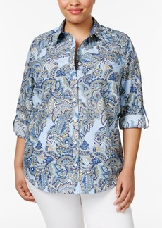 Charter Club Plus Size Cotton Paisley-Print Shirt, Only at Macy's