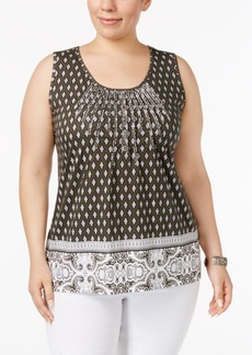 Charter Club Plus Size Cotton Pintucked Top, Created for Macy's