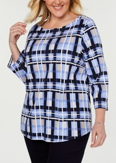 Charter Club Plus Size Cotton Plaid Boat-Neck Top, Created for Macy's