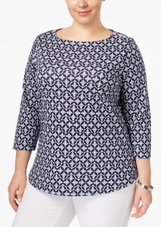 Charter Club Plus Size Cotton Printed Boat-Neck Top, Only at Macy's