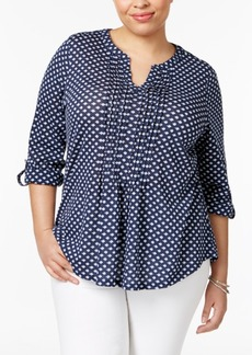 Charter Club Plus Size Cotton Printed Roll-Tab Top, Only at Macy's