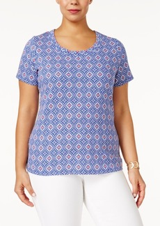 Charter Club Plus Size Cotton Printed T-Shirt, Only at Macy's