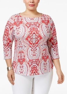 Charter Club Plus Size Cotton Printed Top, Only at Macy's