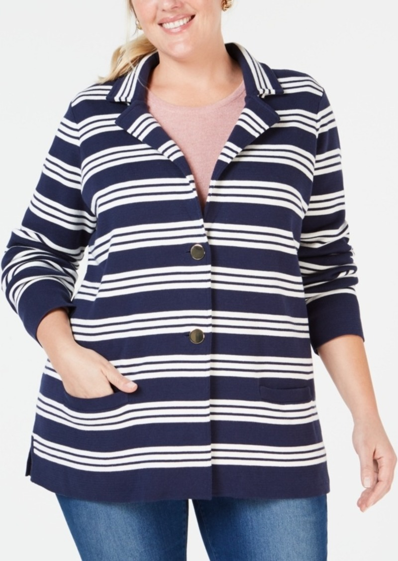 e0c3994fd7c Charter Club Charter Club Plus Size Cotton Striped Sweater Blazer ...