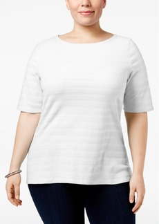 Charter Club Plus Size Cotton Textured Top, Created for Macy's
