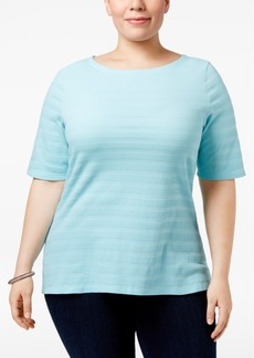 Charter Club Plus Size Cotton Textured Top, Only at Macy's