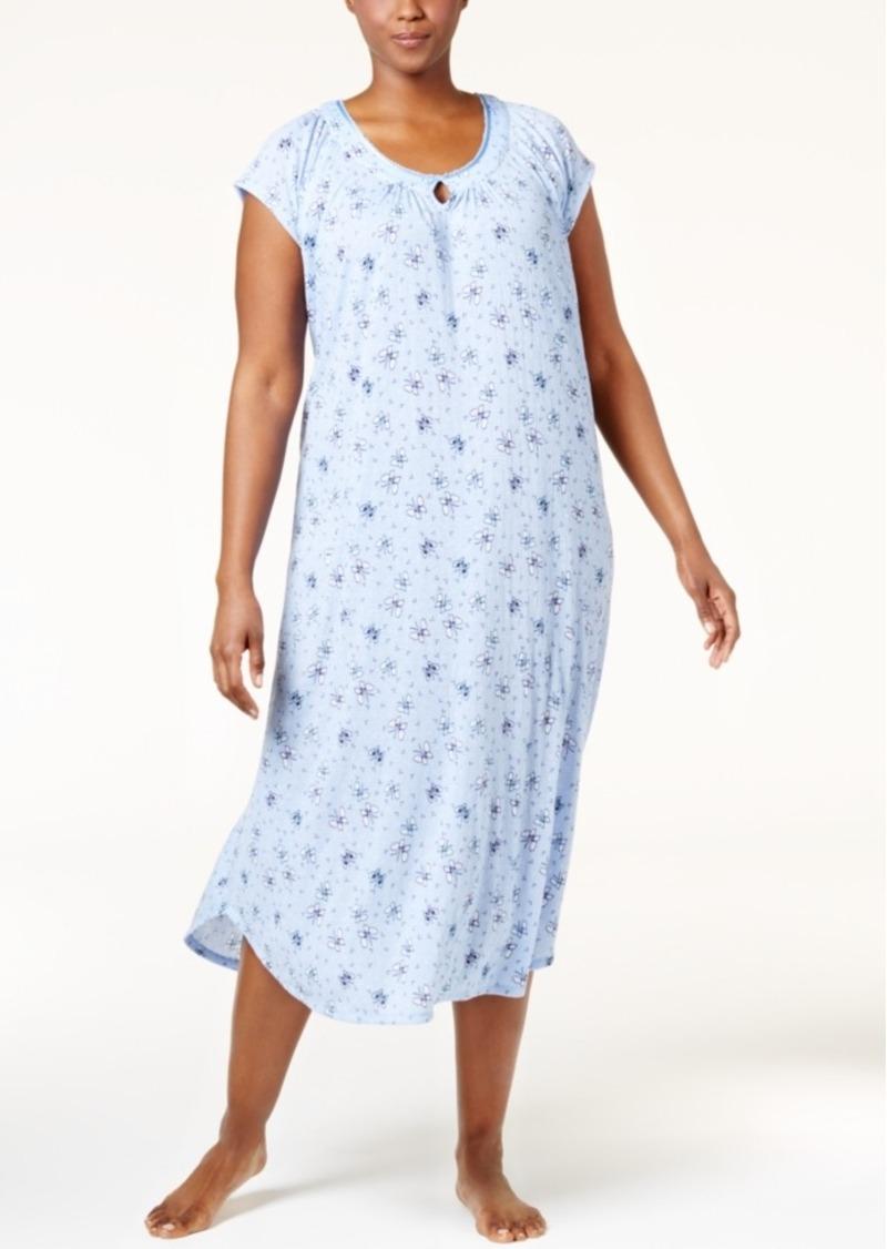 5eb650e0598 Charter Club Charter Club Plus Size Crinkle Printed Nightgown