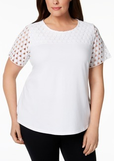 Charter Club Plus Size Crochet-Sleeve T-Shirt, Created for Macy's