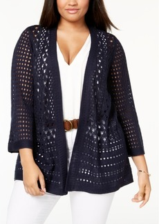 Charter Club Plus Size Crocheted Open-Front Cardigan, Created for Macy's